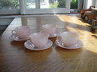 Vintage Lot of 4 Pink Flamingo Swirl Fire King Cup  Saucer Sets Anchor Hocking
