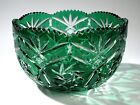 Vintage Bohemian Crystal Emerald Green Cut to Clear Large Glass Centerpiece Bowl