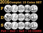 2016 P D S ATB America the Beautiful Parks Quarter Clad 15 Coins COMPLETE Set