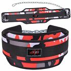 4FIT NEOPRENE DIPPING BELT WEIGHT LIFTING DIP BELT WITH METAL CHAIN RED CAMO