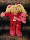 Cabbage Patch Kids Vintage Girl Doll Snuggle Puppy PJS Slippers Teddy Free Ship