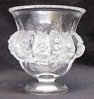 Lalique France Crystal Dampierre Satin Birds and Vines Vase / Bowl Signed