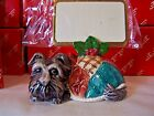 Fitz and Floyd set of 10 1993 Scottie dog Christmas Quilt place card holders