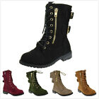 Brand New Kids Girls Fashion Military Lace Up Ankle High Riding Combat Boots