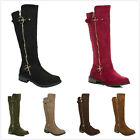 NEW Womens Hot Fashion Knee High Quilted Riding Flat Heel Boots Faux Suede