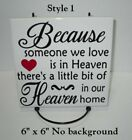 Because someone we love is in Heaven decal sticker for 8 glass block shadow box