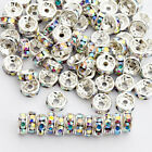 100 Pcs Czech Crystal Rhinestone Silver Rondelle Spacer Beads 45681012mm
