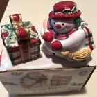 FITZ Floyd Plaid Christmas Salt Pepper Snowman Present