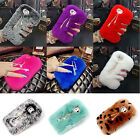 Cute bow Crystal Winter Warm Furry Rabbit Fur Case Cover Skin for iPhone