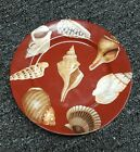 Fitz Floyd COQUILLE de MER Salad Plate red Background 487 VERY GOOD CONDITION