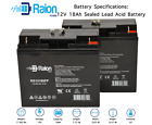 Raion Power 12V 18AH SLA Battery for Pride Mobility Revo Scooter 2 Pack