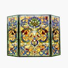 TIFFANY STAINED GLASS FIREPLACE SCREEN  STARSHINE Scrolling Floral Tulips
