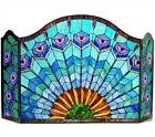 TIFFANY STAINED GLASS FIREPLACE SCREEN  PEACOCK FEATHERS Jewel Tone
