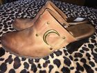 BOC Born Concepts 10/42  Brown Leather Mule Clogs High Heel Buckles Western