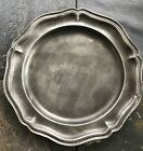 Circa 1800's Antique Heavy Pewter Charger Crown over Tudor over Rose  Scalloped