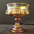 Indiana Glass Amber Carnival Glass Kings Crown Compote Candy Dish #3