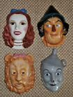 4 Wizard of Oz Clay Art 50th Anniversary Ceramic Masks (c)  Set 1989