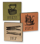 Vintage Look Laundry Room Block Signs - Wash, Dry, Press, Set of 3, New