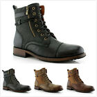 New Mens String Strap Lace up Dual Zip Casual Dress Ankle High Flat Boots Shoes