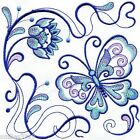 Ten Machine Embroidered Quilt Blocks Butterfly Squares on White Kona Cotton