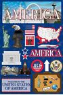 RETIRED Scrapbooking Die Cut Stickers USA 19 pcs Reminisce Brand JET SETTERS BY