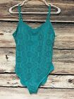 Catalina Size XL 16 18 Teal One Piece Swimsuit Eyelet Overlay