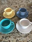 Fiestaware coffee cups (7.75 oz) AND Saucer In Blue, White. Yellow,