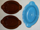 HLC FIESTAWARE INDIVIDUAL CASSEROLE - LOT OF 3 - FIESTA BROWN TURQUOISE SET