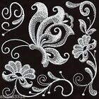 TEN MACHINE EMBROIDERED QUILT BLOCKS BUTTERFLY SQUARES WHITEWORK ON BLACK