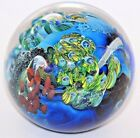 Fascinating JOSH SIMPSON Inhabited PLANET Colorful ART Glass PAPERWEIGHT