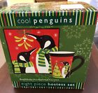 Stephanie Stouffer Cool Penguins 8 Piece Hostess Set Plates & Mugs Certified Int