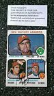 1973 Topps Signed Steve Carlton Gaylord Perry Wilbur Wood COA #66 Autograph Card