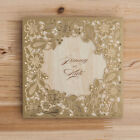Gold Wedding Invitation Laser Cut Card CW5279 with Envelope Seal Free Custom
