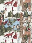 Susan Winget Christmas Woodland Thoughts Owls Birds Deer Raccoons fabric bty