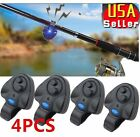 4 x Electronic LED Light Fishing Bite Sound Alarm Alert Bell Clip On Rod VIP
