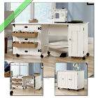 Sauder Sewing and Craft Table Wood Storage Organizer Tables with Wheels, White