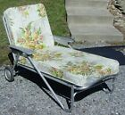 Vintage Bunting Aluminum Chaise Lounge Chair with Floral Vinyl Cushions