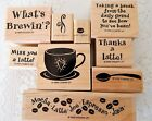 Stampin Up Whats Brewin Stamp Set Coffee Cup Bean Thanks a Latte Saying UNINKED