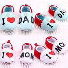 Cute Kids Child Baby Girl Boy Round Toe Flats Soft Slippers Shoes I Love MOM DAD