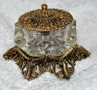 Celeste Open covered Salt Dish Glass Gold Metal Lid Vintage original sticker