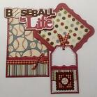 BASEBALL IS LIFE Title  sewn mat set for Premade Scrapbook Page