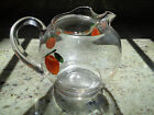 VINTAGE MID CENTURY ORANGE JUICE PITCHER Rare One Quart - Hand Painted - Ice Lip