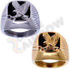 R3 Men Stainless Steel Black Onyx Gold Silver Eagle Ring Size 8 13