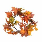 Meiliy Autumn Door Wreath Trimmed With Fall Leaves Pumpkin Hazelnut Berries For