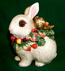 Fitz and Floyd Classics Bunny Sugar Gold Bow with Autumn Leaves with Lid