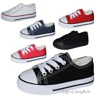 New Boys Girls Toddler Low Top Canvas Tennis Shoes Kids Skater Sneakers Lace Up