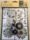 Art C Clear Acrylic Stamp  Adhesive Stencil Set Flowers  Bugs 22 pc NEW