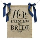 Lings moment Rustic Theme Wedding Burlap Sign Banner Here Comes the Bride With