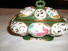 VINTAGE  HAND CRAFTED LOVERS & CHERUBS FIGURAL COVERED CANDY DISH