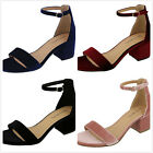 New Womens Strappy Faux Velvet Stacked Block Med Heel Dress Sandals Pumps Shoes